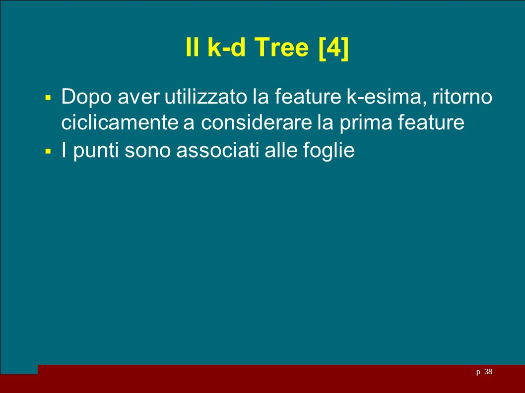 Il k-d Tree [4] Dopo aver utilizzato la feature k-esima, ritorno ciclicamente a considerare la prima feature.